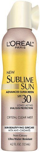 L'Oreal Sublime Sun Control Spray Mist SPF 30, 4.2 Fluid Ounce by L'Oreal Paris. $4.49. Oil free; Non-pore clogging. Ultra water resistant; Ultra sweat resistant. Continuous crystal clear mist instantly disappears into skin with no greasy residue-leaving skin feeling fresh. Introducing new advanced broad-spectrum suncare protection infused with skin-improving care. Protect skin with patented long-lasting UVA/UVB protection. Beautify skin with multi-action anti-oxidan...