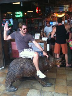 When no mechanical bull around to practice on........ use a bear?? lol Jonathan Silver Scott