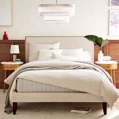 Low Upholstered Nailhead Bed Natural Westelm