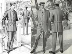 This image represents this period because the man on the left is wearing a Norfolk jacket.The man on the right is wearing a sack jacket.The types of hats and neckwear are of the period.