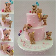 A place for people who love cake decorating. Gateau Baby Shower, Baby Shower Cakes, Fancy Cakes, Cute Cakes, Decors Pate A Sucre, Teddy Bear Cakes, Teddy Bears, Novelty Cakes, Girl Cakes