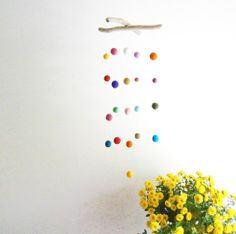 DRIFTWOOD and Colorful FELT BALLS Mobile