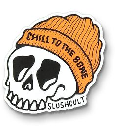 """Show off your laid back style with the Slushcult Chill To The Bone Sticker. Featured with a graphic of a skeletal skull rocking an orange ribbed beanie with the text """"Chill To The Bone"""" written across the cuff. Bubble Stickers, Phone Stickers, Cool Stickers, Funny Stickers, Brand Stickers, Homemade Stickers, Sticker Bomb, Aesthetic Stickers, Bones"""