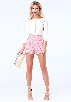 Floral+Jacquard+Shorts