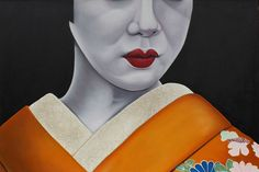 """Geisha IV"" by Ryan Rice. Oil painting on Canvas, Subject: People and portraits, Urban and Pop style, One of a kind artwork, Signed on the front, This artwork is sold unframed, Size: 152.4 x 101.6 x 5.71 cm (unframed), 60 x 40 x 2.25 in (unframed)"