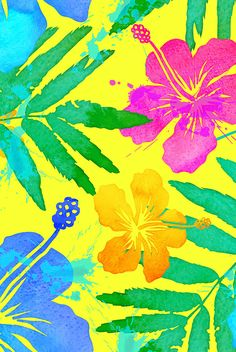 Vivid colors tropic flowers by art_of_sun. Vivid colors summer pattern with bright tropical flowers on yellow background. Available in fabric, wallpaper, and gift wrap. Iphone Wallpaper Tropical, Flower Iphone Wallpaper, Bright Wallpaper, Summer Wallpaper, Iphone Background Wallpaper, Flower Backgrounds, Tropical Background, Bright Background, Cute Wallpapers