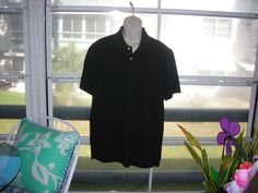 Mens St. Johns Bay Polo Top Golf Shirt Short Sleeve Solid Black Large Large #StJohnsBay #PoloRugby
