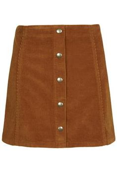 TALL Cord Button Front A-Line Skirt