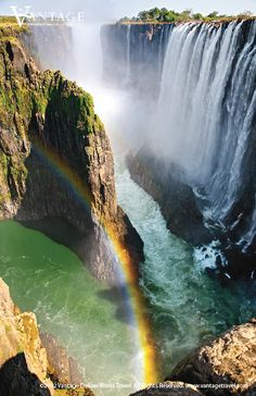 Victoria Falls on the Zambezi River, at the border of Zambia  & Zimbabwe