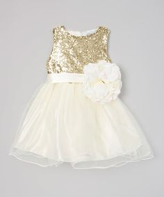 This Ivory & Gold Sequin Flower Girl Dress from #justcouture - Infant, Toddler & Girls is perfect! #zulilyfinds www.justcouturestore.com