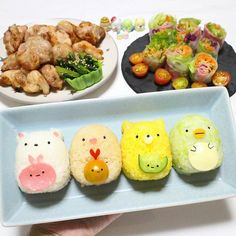 Sumiko gurashi sushi art by Japanese Food Art, Japanese Snacks, Cute Food, A Food, Food And Drink, Cute Desserts, Dessert Recipes, Clean Eating Recipes, Cooking Recipes