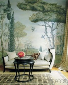 Mural wallpaper with a fainting couch = yes!