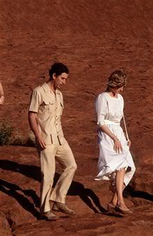 March 21, 1983: Prince Charles & Princess Diana at Ayers Rock in Yulara, the Northern Territory in Australia.