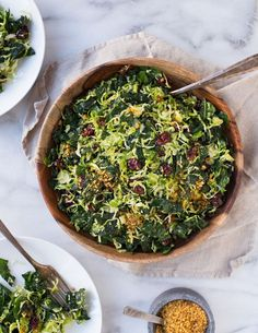 Shredded Brussel Sprout and Kale Salad- a colorful salad that's perfect to serve for the holidays or to make for healthy lunches during the week!