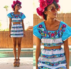 Vintage & Diy Mexican Floral Top & Skirt, Vintage Wooden Platforms, Vintage Oversize Sunnies