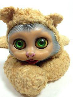 Vintage Rubber Face Cat Old Stuffed Animal Creepy by StylishPiggy, $25.00
