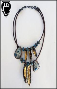 Todd Conover Double Strand Necklace, 2014, copper, jasper, gold leaf, ceramic beads