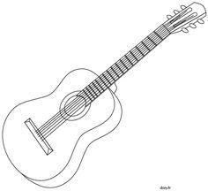 Dessin à imprimer, une guitare acoustique