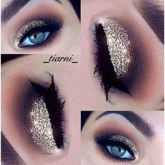 10 Party Eye Make up Tutorials for You to Rock ❤ liked on Polyvore featuring beauty products, makeup, sparkle makeup, rock cosmetics, night out makeup, going out makeup and holiday party makeup