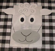 Sheep Treat Sacks - Farm Lamb Barnyard Theme Birthday Party Favor Bags by jettabees on Etsy. $15.00, via Etsy.