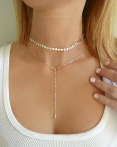 This Sterling Silver Choker Necklace For Women, Chain Choker Silver Lariat Necklace Gold, Modern Dainty Double Layered Choker Necklace Set Drop is just one of the custom, handmade pieces you'll find in our chokers shops. Sterling Silver Choker Necklace, Gold Chain Choker, Lariat Necklace, Necklace Set, Silver Earrings, Silver Bracelets, Pendant Necklace, Men Choker, Couple Bracelets