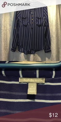 Pin stripe see through top Blue and white pin striped see through top perfect with a white bandeau! Charlotte Russe Tops Blouses