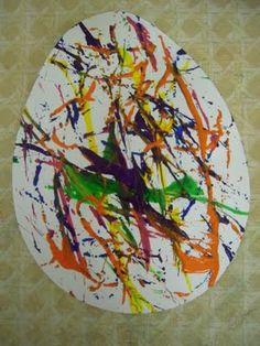 Fun easter project.  Yarn painting.