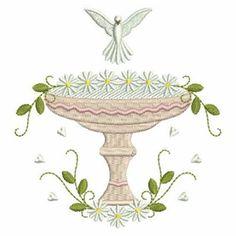 Floral Christening Baptismal embroidery design