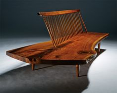 Conoid bench (executed 1963), George Nakashima, Edmund J. Bennett Collection