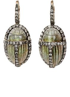 Sidney Garber Grey Diamond & Labradorite Scarab Drop Earrings at Barneys New York