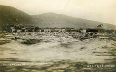 Inundación de 29 de agosto  de 1909 Monterrey NL Casas del Barrio San Luisito antes de ser barridas por la corriente
