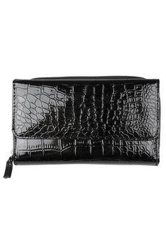 Mundi L30475 Blk Handbags Luggage Women S Croc Print Checkbook Clutch Wallet Wallets Wristlets
