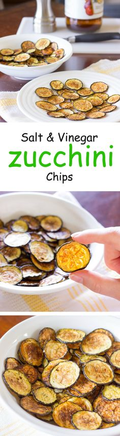 The flavors of salt and vinegar potato chips in a healthier version. Oven baked salt and vinegar zucchini chips.
