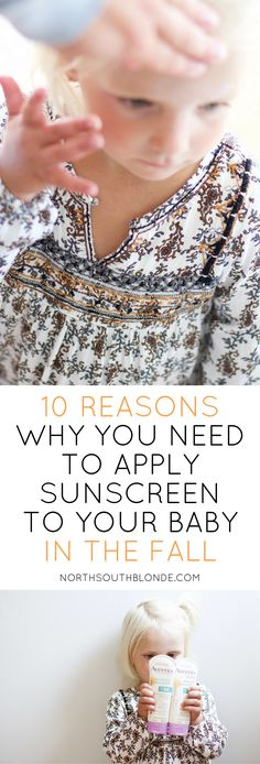 Did you think it was time to throw out the sunscreen? You'd be surprised at all the reasons not to. It is recommended to apply sunscreen to baby all year around, click thru to find out why! Aveeno Baby Sunscreen, New Parents, Raising Kids, Parenting Advice, Teaching Kids, Sensitive Skin, New Baby Products