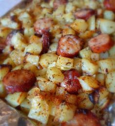 Recipe for Oven Roasted Smoked Sausage and Potatoes - An easy and simple meal. Need to try this.