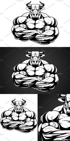 Vector illustration of a strong healthy bull with large biceps. Bodybuilding Logo, Bodybuilding Pictures, Hd Design, Login Design, Bulldogge Tattoo, Strongest Animal, Bull Tattoos, Bull Logo, Hulk Comic