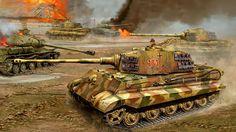 Tiger IIs passing knocked JS-2 tanks
