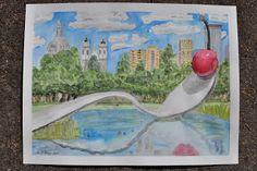 Minneapolis Cherry Spoon Bridge Watercolor | Mommy's Medley