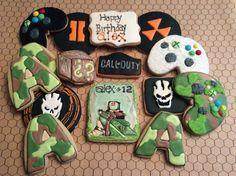 Xbox cookies, Call of duty cookies, boys birthday cookies, royal icing cookies, camo cookies, sugar cookies, decorated sugar cookies, first shooter cookie.