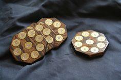 Oak shotgun shell coasters with real shotgun shells by J2WoodCraft