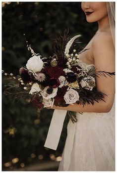 Moody Wedding Inspiration Perfect for Halloween and Beyond - Love Inc. Mag - - The brides' lip colors, black wedding dress, florals of deep-toned burgundy roses and a black wedding cake elevate the moody wedding vibe. October Wedding, Fall Wedding, Our Wedding, Dream Wedding, Halloween Wedding Flowers, Perfect Wedding, Halloween Wedding Decorations, Halloween Weddings, Halloween Mantel