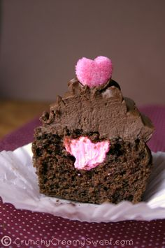 Valentine's Day Chocolate Cupcakes with Whipped Ganache Frosting