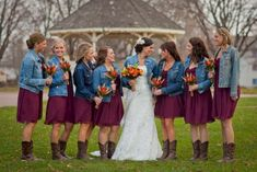 41 Vintage Wedding Day Outfit Ideas Using Country Boots Bridesmaid Dresses country bridesmaid dresses Denim Wedding, Maroon Wedding, Camo Wedding, Wedding Bridesmaids, Wedding Decor, Wedding Day, Autumn Wedding, Wedding Themes, Spring Wedding