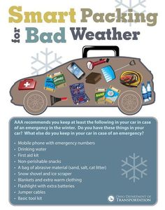 Emergency car kit - handy to know for when your teen driver gets their first car. Emergency Preparedness Kit, Emergency Preparation, Emergency Binder, Family Emergency, Emergency Food, Winter Car Kit, Winter Driving Tips, Car Facts, Car Care Tips