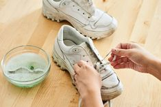 How to Clean White Shoes   Apartment Therapy How To Clean White Sneakers, Clean Shoes, How To Whiten Shoes, Leather Sneakers, Air Max Sneakers, Cleaning Sneakers, Clean White Leather, White Canvas Shoes, Mesh Laundry Bags