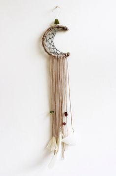 """Bohemian Moon Dream Catcher, Earth Tones, 3"""", Wall Decor, Car Mirror, Feathers, Beads, Lace, Boho, Gypsy Chic, Room Decor, Wall Hanging by MakingThingsHappen on Etsy https://www.etsy.com/listing/227562002/bohemian-moon-dream-catcher-earth-tones"""