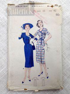 Vintage Pattern Butterick 8469 Sewing pattern 1950s sheath wiggle dress Bust 44 plus size stewardess  collar interest surplice contrast