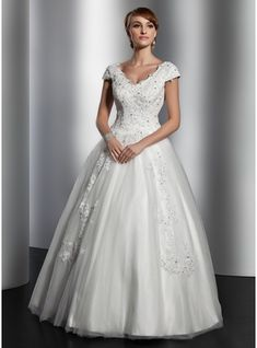 A-Line/Princess V-neck Floor-Length Tulle Wedding Dress With Lace Sequins (002014820) - JJsHouse