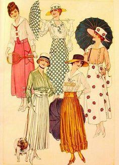 Fashion Prints, Fashion Art, Retro Fashion, Vintage Fashion, 1918 Fashion, Illustration Noel, Fashion Illustration Vintage, Edwardian Dress, Edwardian Fashion