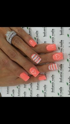 Spring nail art! Nail art design! Nails! Peach Nails!